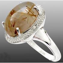 L423-19mm- Maravilloso Anillo Plata925 Diamantitos Cuarzo Do