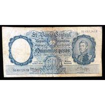 Bottero 2109. Billete 500 Pesos. Moneda Nacional. 1961.