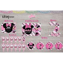 Kit Minnie Invitaciones, Stickers, Cartel, Banderín Y Mas