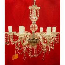 Lámpara Tipo Araña C/ Caireles De Cristal Facetados 6 Brazos