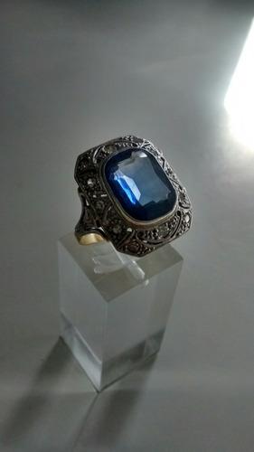 c433cf0a8882 Anillo Antiguo De Oro 18 K Platino Brillantes Y Agua Marina
