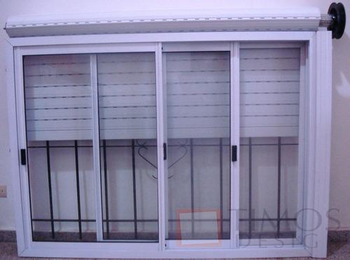 Ventana aluminio 150x110 con vidrio persiana reja for Ventanas de aluminio con persianas precios