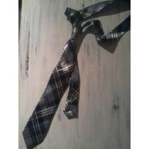 Corbata Escocesa Saten Negro Gris Blanco