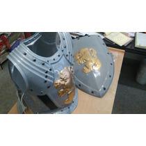 Armadura Doble Romano / Medieval Plastico Gris Cotillon X 2u