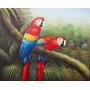 Pintura En Acrilico Sobre Bastidor 62x51 Cm-loros Caribeños