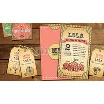 Kit Imprimible Circo Vintage Nena Personalizado