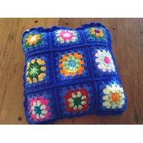 Almohadon Tejido A Mano A Crochet 35 * 35 Cm Azul