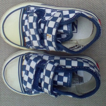 Zapatillas Vans De Tela Con Velcro-talle Us 4.5 (niños)