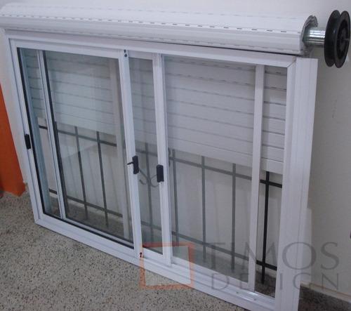 Ventana aluminio blanco150x110 con vidrio persiana reja for Mosquiteros de aluminio