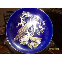 Plato De Porcelana Japan Azul Cobalto. Pavos Reales (baiut)