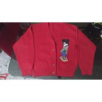 Saco Tejido, Talle 10, Color Rojo Con Mickey, Excelente!!