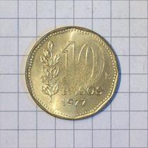 Argentina 10 Pesos 1977 Hermoso Error De Cospel