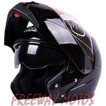 Casco Rebatible Beon Doble Visor Negro En Freeway Motos !!