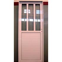 Puerta Exterior Aluminio Blanco 1/2 Vertical 80x200 Pesada