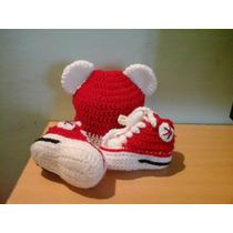 Escarpines Tipo Zapatillas Conjunto Gorro A Crochet