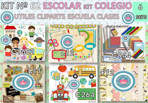 1 Kit Imprimible X6 Escolar Inicio Clases Estampado Sublimar