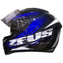 Casco Integral Zeus Gj 806 Ii48 Solid Black Blue Devotobikes