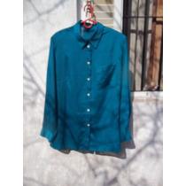 Camisa Azul Petróleo Crepe De Seda Clásica Talle Xl / M Pago
