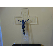 Crucifijo Antiguo En Vidrio Tallado Y Cristo En Metal Platea