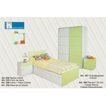 Juego Dormitorio Infantil. Cama, Carro, Mesa De Luz, Placard