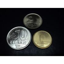 Lote De Tres Monedas De Hungria De 50 Filler , 1 Y 2 Fornit
