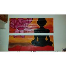 Cuadro Pintado A Mano. Meditacion. Flor De Loto