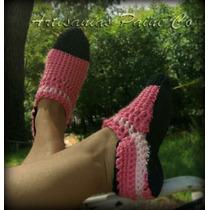 Pantuflas Tejidas A Crochet. Suela Antideslizante. Artesanal