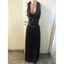 Vestido Largo De Raso Y Gasa Con Transparencia T L $ 600