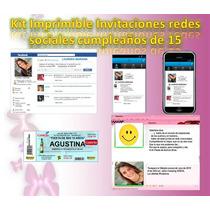 Kit Imprimible Invitaciones Redes Sociales Cumplea 1os De 15