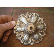 Antiguo Florón Para Araña De Bronce-macizo