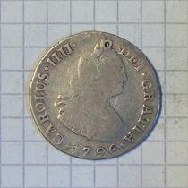 Lima Hispano America 2 Reales Plata 1796 Carlos Iv