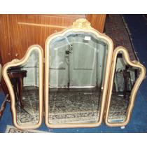Espejo Triptico Provenzal Marco De Madera Tallada (1345)