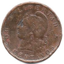 Moneda Antigua Argentina.2 Centavos 1885.impecable Y Hermoso