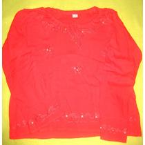 Camisola Tipo Hindu Color Roja Con Lentejuelas Usada