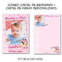 Minnie Combo Cumpleaños: Cartel Bienvenida + Afiche Firmas