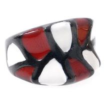 Anillo Esmaltado Rojo Blanco Negro Acero Quirurgico Gr7347