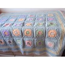 Manta Tejida A Mano Crochet 80*80 Cm Multicolor Granny