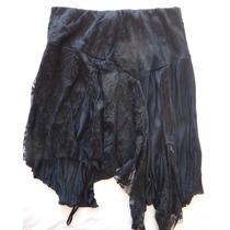 Pollera De Viscosa Negra Con Encaje Marca Soya