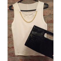 Blusa Remera Lycra Modal Blanca Viene Con Colgante Cadena¡¡