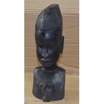 Escultura En Madera Tallada Busto Decoracion Antigua
