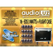 Combo Sunstar 16 Tachos Eos 3 18 Led De 3w Rgb + Anvil Dmx