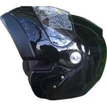 Casco Zeus Rebatible Gj 508 Negro Mate / Brillo - Sti Motos