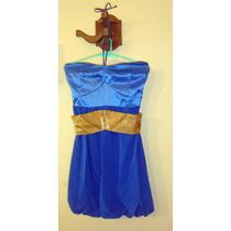 Vestido De Fiesta Corto Sin Mangas Azul Y Dorado Falda Globo