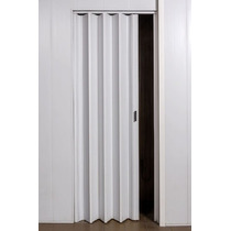 Puerta Plegadiza Reforzada Pvc 10mm Compl Blanca 0,75x2m