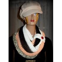 Accesorio Para El Cuello, Bufanda Tejida Crochet Con Boton