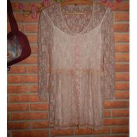Vestido Civil Fiesta Encaje Elastizado Color Rosa