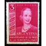 Argentina Sello Gj1031 Eva Perón $3 Rayos Rectos Nuevo L3869