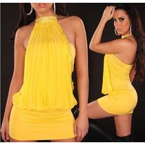 Mini Mini Vestido Jersey De Seda Con Buche Plisado Y Brillo.