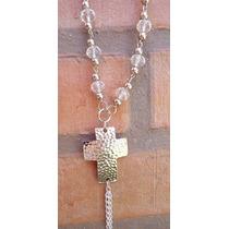 Collar Cristal De Roca Y Dije Cruz...accesorios Bijouterie
