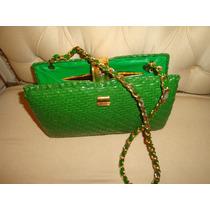 Vintage Cartera Italiana Color Verde Cuero Charolado
